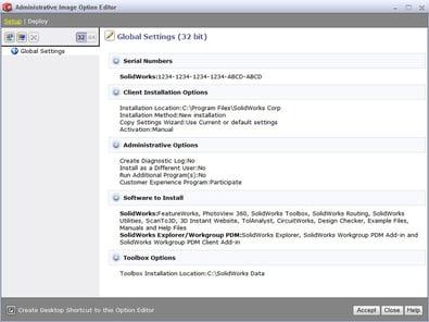 SOLIDWORKS SCCM window administrative image