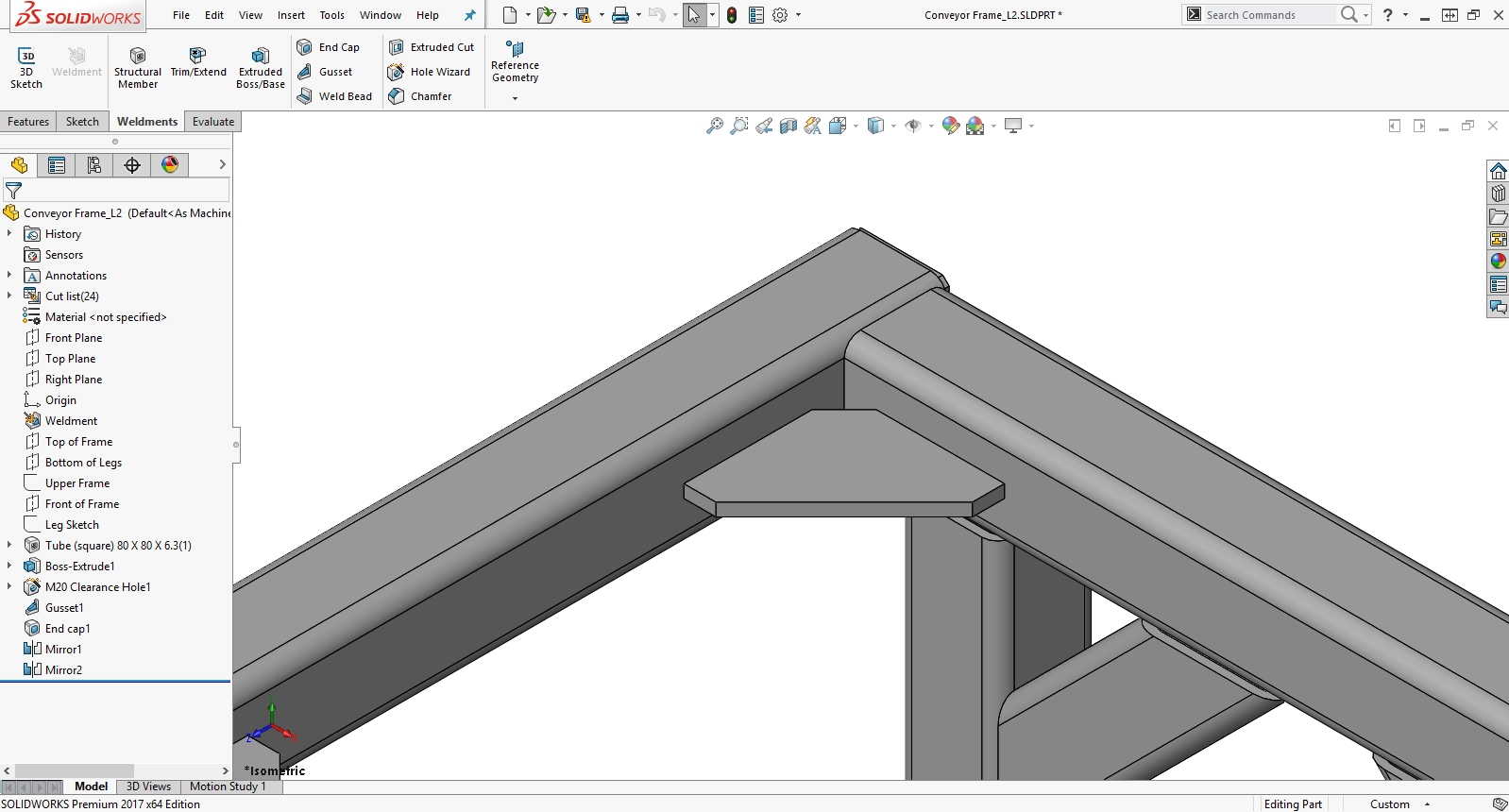 Gussets Feature in SOLIDWORKS Weldments