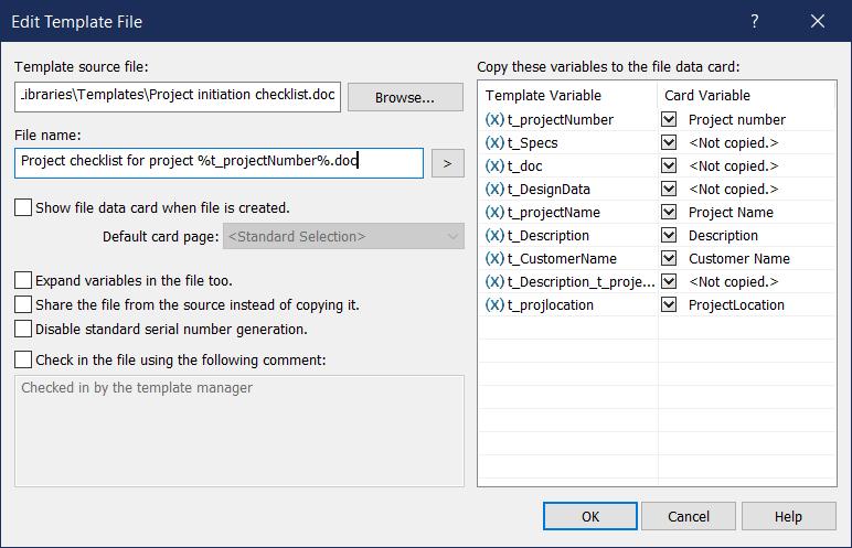SOLIDWORKS Edit Template File