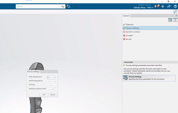 3DEXPERIENCE Plastic Injection Engineer Process Settings