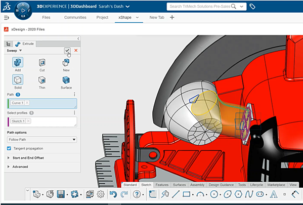3DEXPERIENCE xDesign Change Feature to Sweep