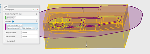 3DEXPERIENCE xMold Sketch for Mold Cavity