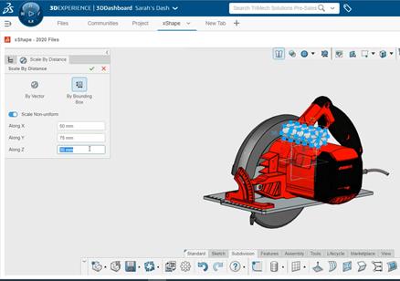3DEXPERIENCE xShape Applying a Non-Uniform Scale