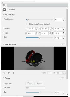 3DEXPERIENCE xStudio Camera Options
