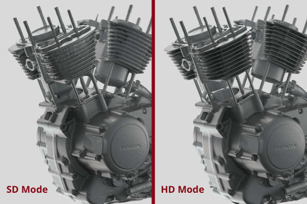 Motorcycle engine scanned with Artec Leo