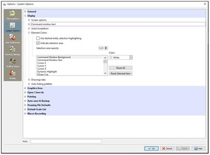 DraftSight System Options