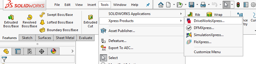 DriveWorksXpress in SOLIDWORKS