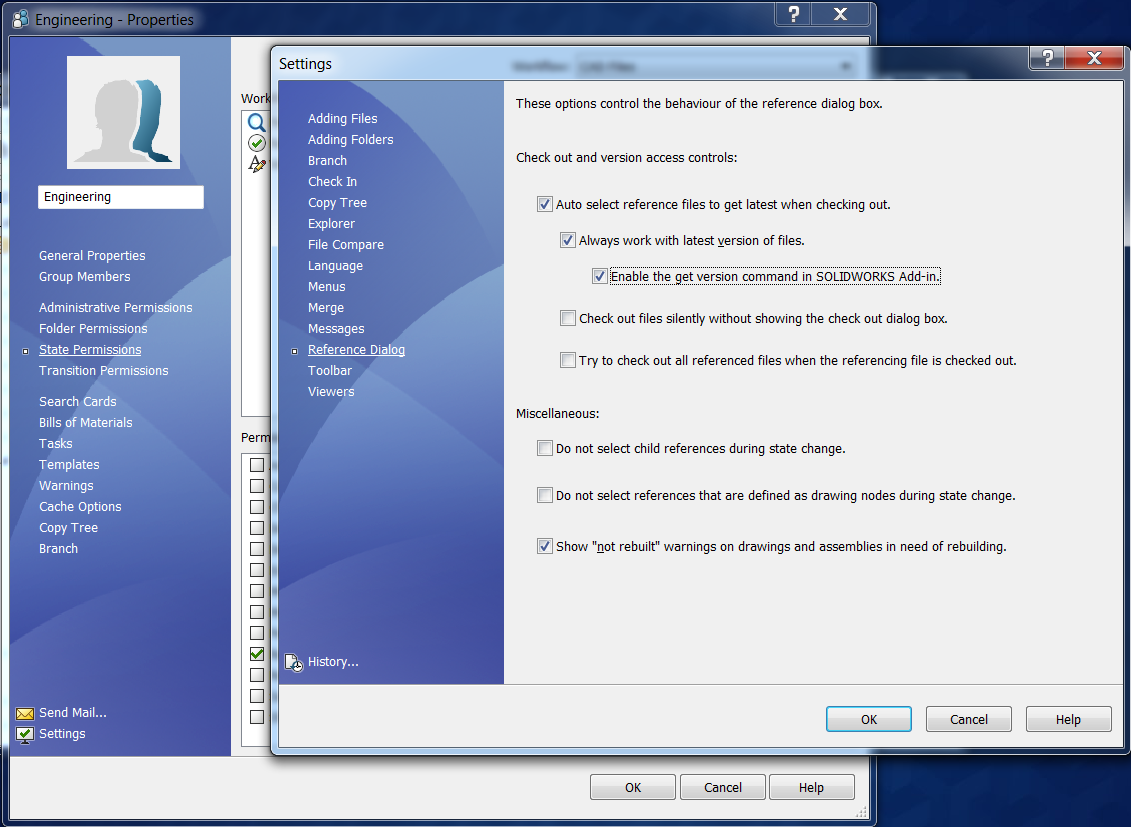 Reference Dialog Version Control Tools SOLIDWORKS PDM
