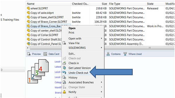 Undo Check Out Version Control Tools SOLIDWORKS PDM