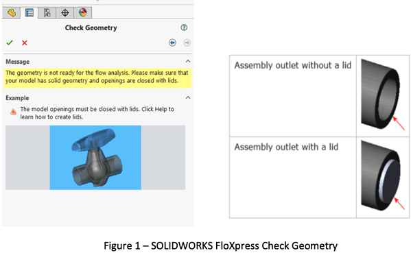 SOLIDWORKS FloXpress Check Geometry