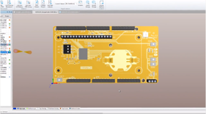 Sample circuit board view in SOLIDWORKS PCB