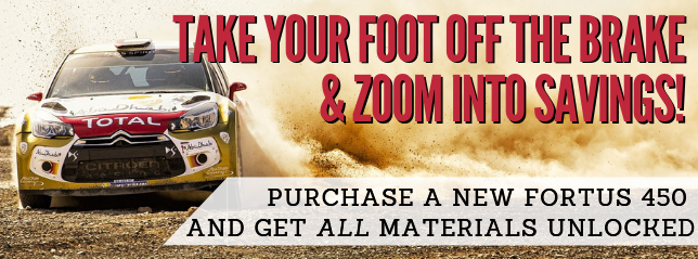 Purchase a new Fortus 450 and get all materials unlocked