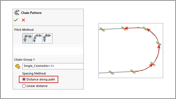 SOLIDWORKS 2021 Chain Patterns Spacing Options