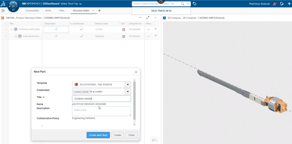 SOLIDWORKS 3DEXPERIENCE Adding a New Component