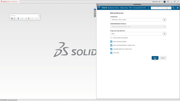3DEXPERIENCE SOLIDWORKS Bookmarks