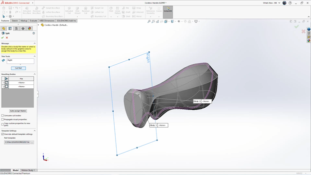 3DEXPERIENCE SOLIDWORKS Modifying xShape Model Sections
