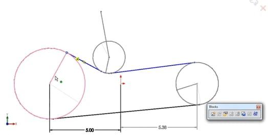 SOLIDWORKS Belt or Chain Sketch Relation