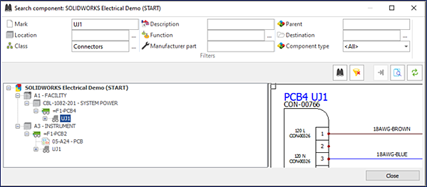 SOLIDWORKS Electrical Search Tools