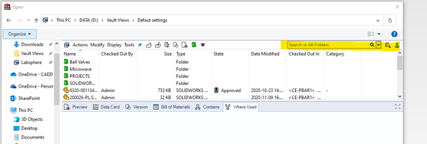 SOLIDWORKS PDM Windows Explorer Search