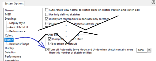 SOLIDWORKS Sketch Automatic Solve Mode