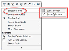 Selection Tools in SOLIDWORKS