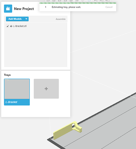 looking at the estimation tray for Polyjet's will show a progress bar