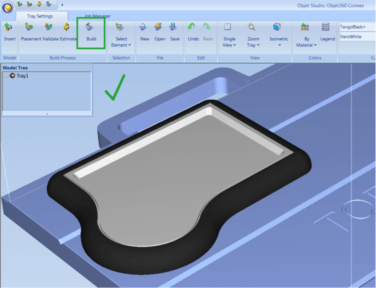 Once the correct material is selected you can build your part