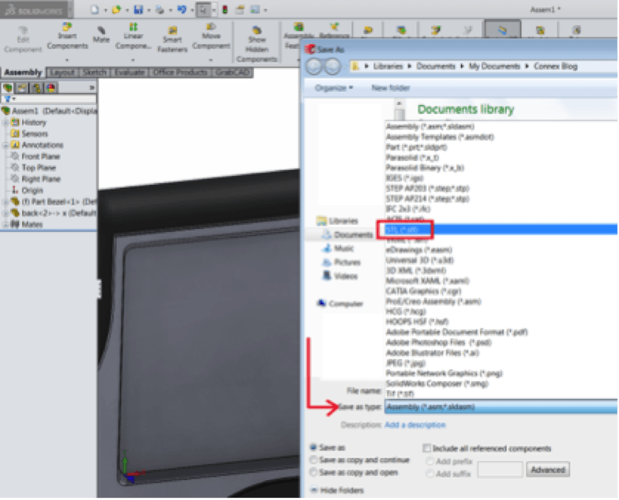 Choose STL file format