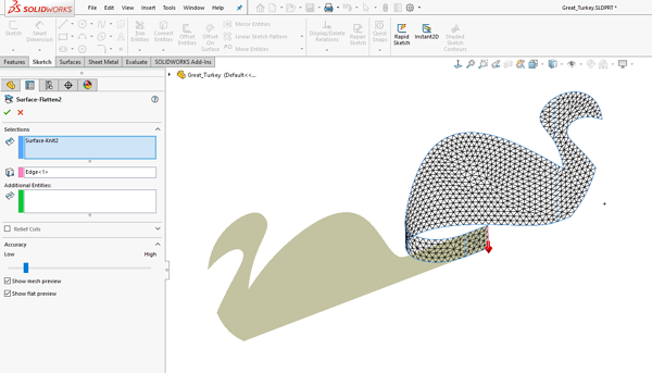 Surface Flatten in SOLIDWORKS