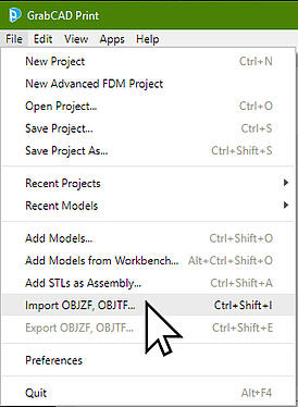 GrabCAD Import OBJ. File