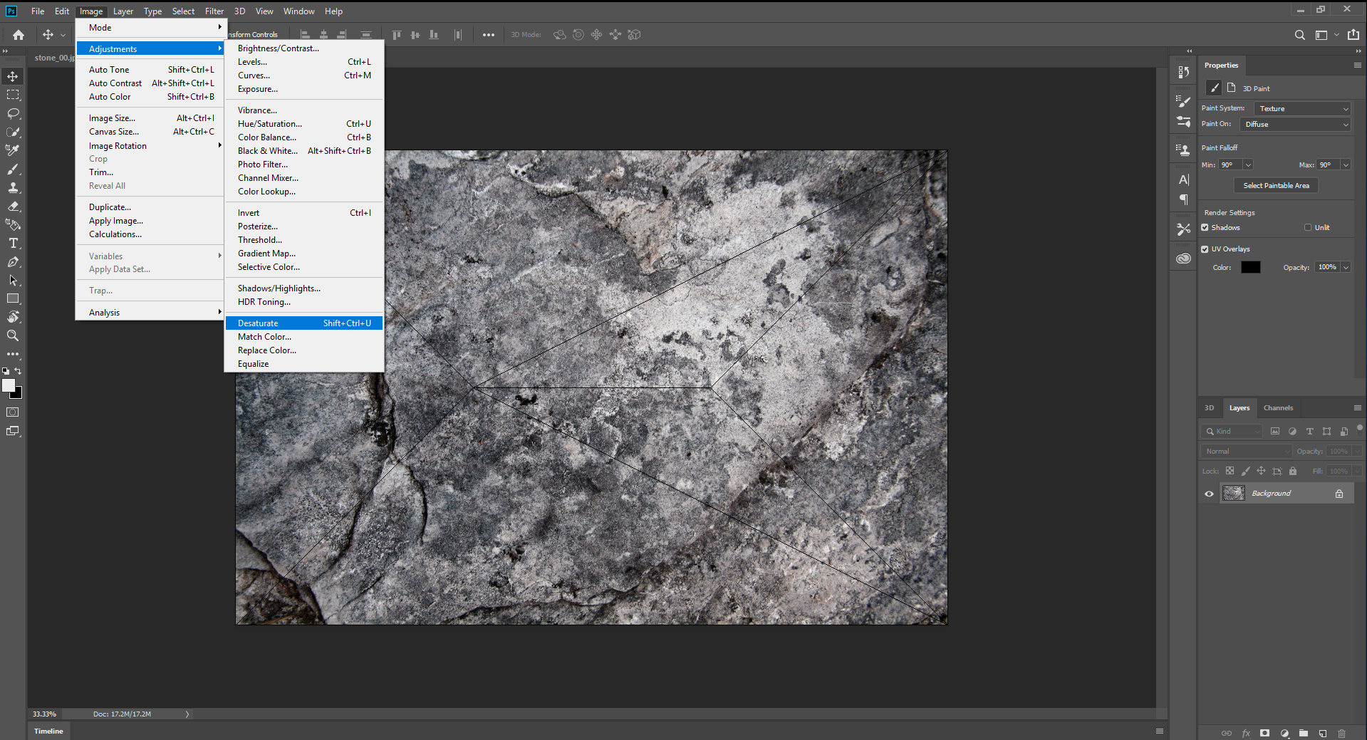 Desaturating Image in Photoshop