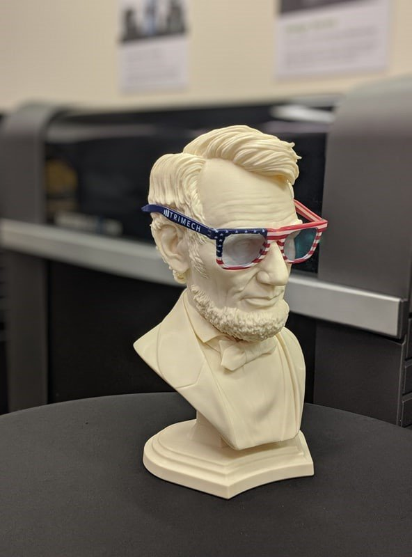 Honest Abe and  3D printed patriotic sunglasses