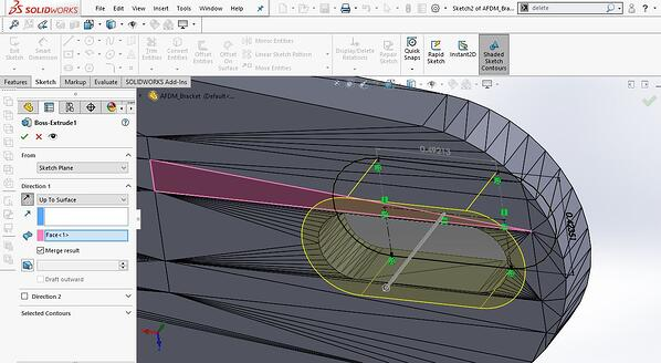 creating extrude feature in SOLIDWORKS