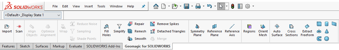 Geomagic for SOLIDWORKS Toolbar