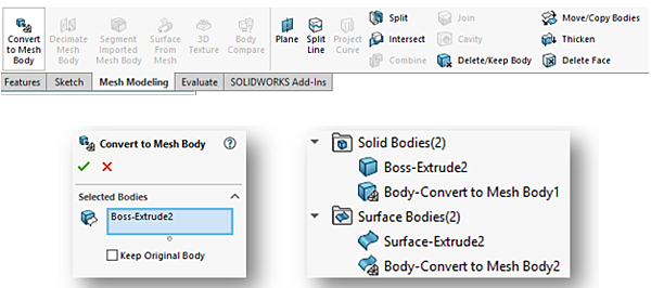 Mesh modeling too in SOLIDWORKS 2018