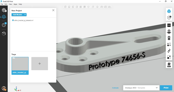 Material appearance in GrabCAD Print