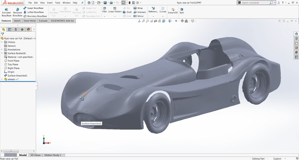 Surface Model in SOLIDWORKS