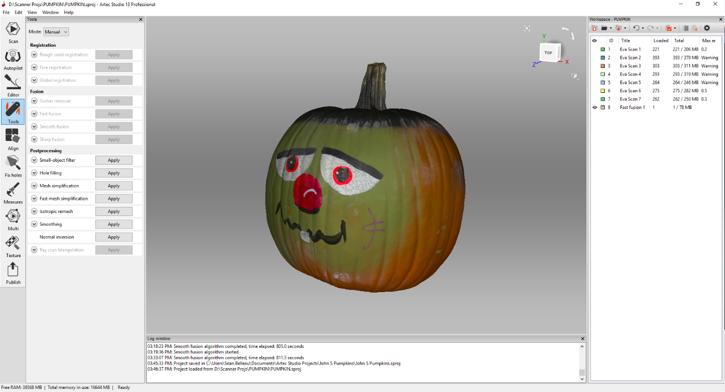 3D scanned pumpkin in Artec Studio software
