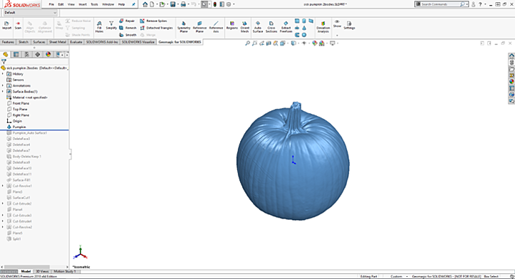 CAD pumpkin in GeoMagic for SOLIDWORKS