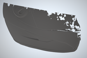 3D scanned helmet section in SOLIDWORKS