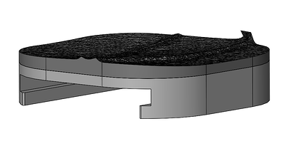 3D designed mount in SOLIDWORKS with the helmet curvature as the base of the mount