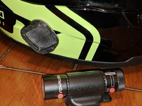 3D printed camera mount on helmet