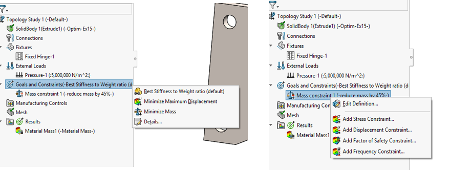 Goal and Constraint Definition in Topology Study in SOLIDWORKS Simulation