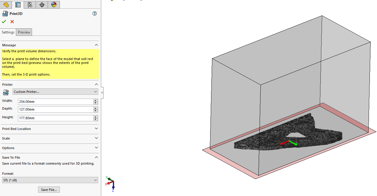 SOLIDWORKS Print D Property Manager Options