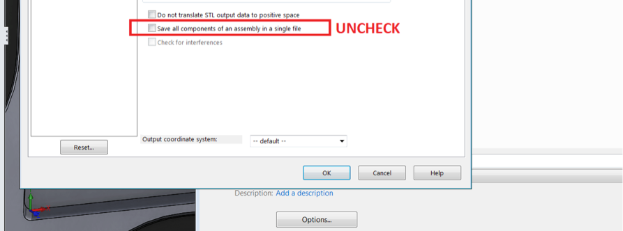"""Uncheck """"Save all components of an assembly ina single file."""""""