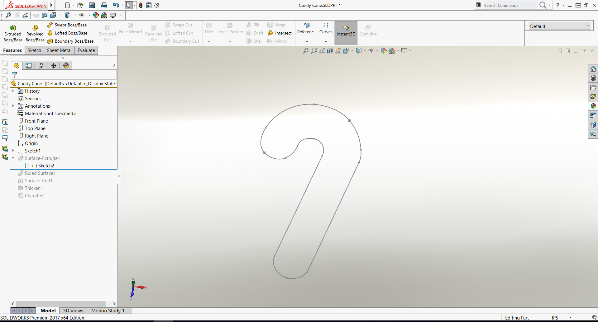 Sketch Candy Cane Render in SOLIDWORKS