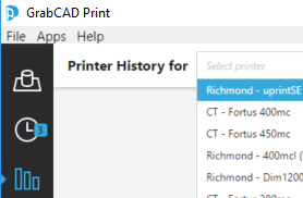 GrabCAD Print Printer Selection