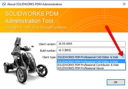 SOLIDWORKS PDM Client Type