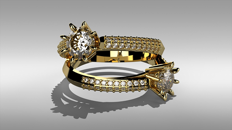 Gold and Diamond Ring Configuration in Visualize