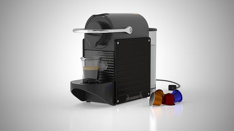 Side View Espresso Maker Smooth VR Animation in Solidworks Visualize